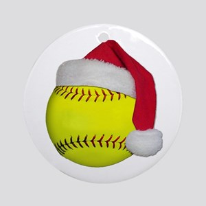 Softball Santa Ornament (Round)